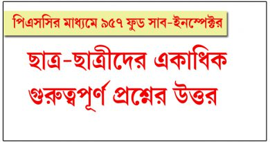 Food Sub Inspector, WB Recruitment
