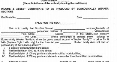 10% Reservation Quota Certificate